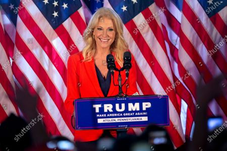Kellyanne Conway introduces first lady Melania Trump during a campaign rally, in Atglen, Pa