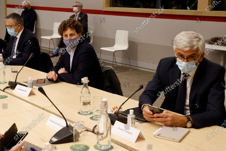 Les Centristes party chief Herve Morin (R) and EELV's Julien Bayou (2-R) attend an information meeting chaired by French Prime Minister with political party chiefs in Paris, France, 27 October 2020, ahead of the probable announcement of tougher restrictions to counter an alarming surge in Covid-19 cases. The authorities imposed a curfew this month that now requires about 46 million people to be home by 9:00 pm, as the number of daily virus cases flared. Media reports say President Macron might extend the curfew hours, possibly with a full lockdown on weekends, or else order targeted lockdowns for the hardest-hit regions. Another option could be to postpone the return of students from the autumn holiday that ends this weekend, in particular to high schools and universities.