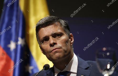 Venezuelan opposition leader Leopoldo Lopez takes part on a news conference in Madrid on . Prominent opposition activist Leopoldo López who has abandoned the Spanish ambassador's residence in Caracas and left Venezuela after years of frustrated efforts to oust the nation's socialist president is holding a news conference in Madrid