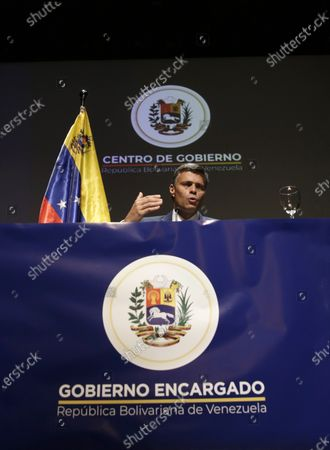 Venezuelan opposition leader Leopoldo Lopez during a news conference in Madrid on . Prominent opposition activist Leopoldo López who has abandoned the Spanish ambassador's residence in Caracas and left Venezuela after years of frustrated efforts to oust the nation's socialist president is holding a news conference in Madrid