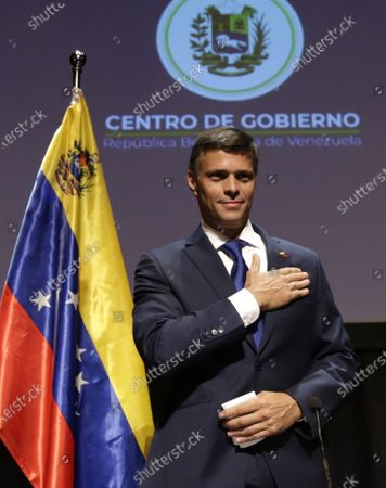 Venezuelan opposition leader Leopoldo Lopez reacts after a news conference in Madrid on . Prominent opposition activist Leopoldo López who has abandoned the Spanish ambassador's residence in Caracas and left Venezuela after years of frustrated efforts to oust the nation's socialist president is holding a news conference in Madrid