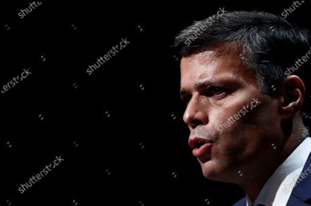 Venezuelan opposition leader Leopoldo Lopez attends a press conference during his visit to Madrid, Spain, 27 October 2020. Leopoldo Lopez visits Spain after secretly fleeing his country via the Colombia border.