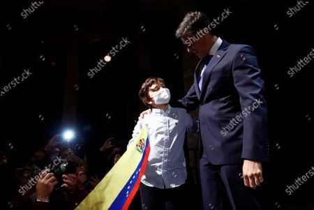 Editorial image of Venezuelan opposition leader Leopoldo Lopez speaks to the media in Madrid, Spain - 27 Oct 2020