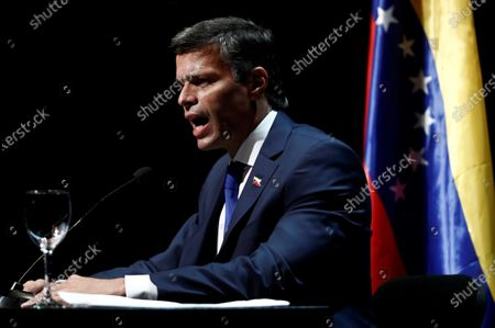 Editorial picture of Venezuelan opposition leader Leopoldo Lopez speaks to the media in Madrid, Spain - 27 Oct 2020