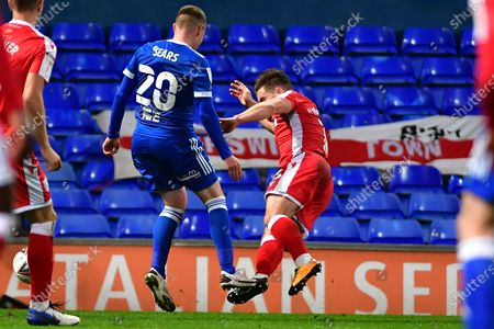 Freddie Sears, Alex MacDonald during the EFL Sky Bet League 1 match between Ipswich Town and Gillingham at Portman Road, Ipswich