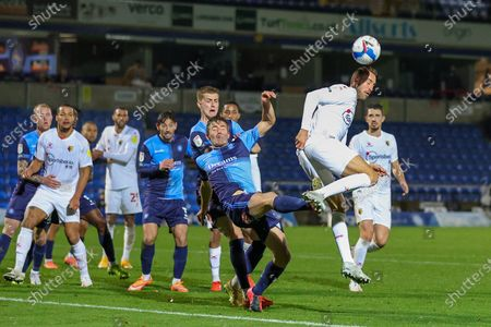 Watford forward Glenn Murray (17) back heels towards the goal during the EFL Sky Bet Championship match between Wycombe Wanderers and Watford at Adams Park, High Wycombe
