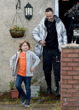 Stock Picture of Joseph Gilgun with 9 year old actor Jude Riordan who has just landed a role in Coronation Street.