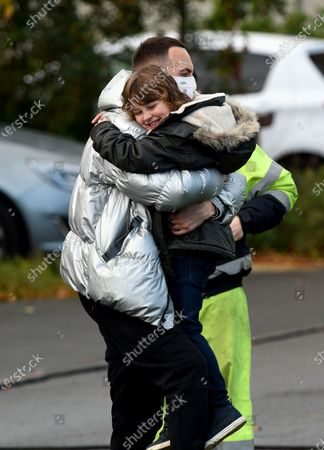 Stock Photo of Joseph Gilgun with 9 year old actor Jude Riordan who has just landed a role in Coronation Street.
