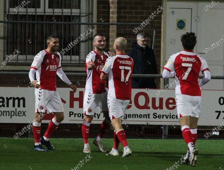 Ched Evans GOAL 1-) of Fleetwood Town celebrates to make it during the EFL Sky Bet League 1 match between Fleetwood Town and Shrewsbury Town at the Highbury Stadium, Fleetwood