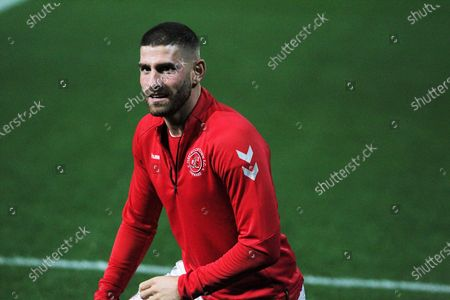 Ched Evans of Fleetwood Town  during the EFL Sky Bet League 1 match between Fleetwood Town and Shrewsbury Town at the Highbury Stadium, Fleetwood