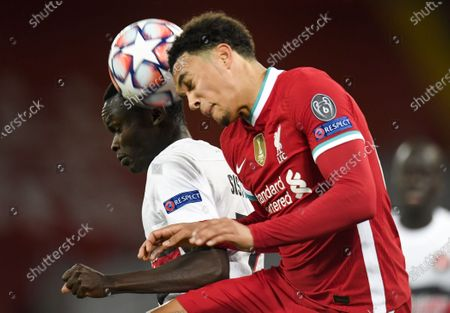 Trent Alexander-Arnold (R) of Liverpool in action against Pione Sisto (L) of Midtjylland during the UEFA Champions League group D match between Liverpool and Midtjylland in Liverpool, Britain, 27 October 2020.