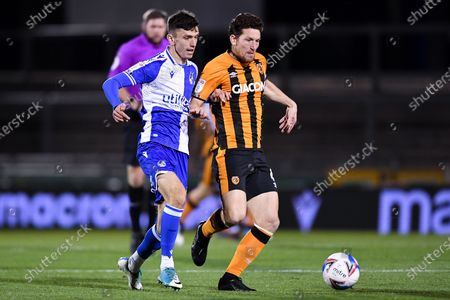 Zain Westbrooke of Bristol Rovers is challenged by Richard Smallwood of Hull City