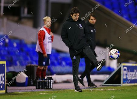 Birmingham City manager Aitor Karanka kicks the match ball
