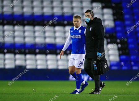 Stock Image of Adam Clayton of Birmingham City leaves the game through injury