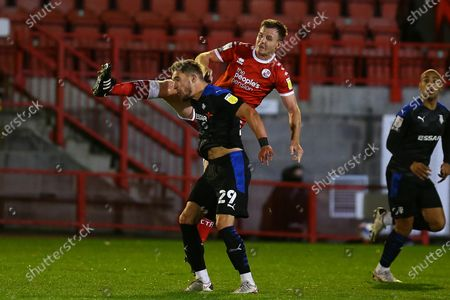 Sam Smith of Tranmere Rovers and Tony Craig of Crawley Town during Crawley Town vs Tranmere Rovers, Sky Bet EFL League 2 Football at Broadfield Stadium on 27th October 2020