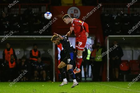 Jordan Tunnicliffe of Crawley Town and Sam Smith of Tranmere Rovers during Crawley Town vs Tranmere Rovers, Sky Bet EFL League 2 Football at Broadfield Stadium on 27th October 2020