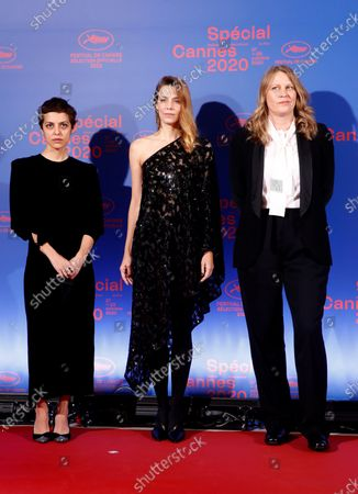 Jury members  Georgian film director Dea Kulumbegashvili, French actress Celine Sallette and French film director Claire Burger  pose before the opening ceremony of the Cannes 2020 Special, in Cannes, France, 27 October 2020. The 73rd edition of the Cannes Film Festival which was to be held in May 2020 was canceled due to the Covid-19 pandemic. The Cannes 2020 Special runs from 27 to 29 October.