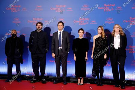 Jury members  French film director and producer Rachid Bouchareb, French actor Damien Bonnard, French producer Charles Gillibert, Georgian film director Dea Kulumbegashvili, French actress Celine Sallette and French film director Claire Burger pose before the opening ceremony of the Cannes 2020 Special, in Cannes, France, 27 October 2020. The 73rd edition of the Cannes Film Festival which was to be held in May 2020 was canceled due to the Covid-19 pandemic. The Cannes 2020 Special runs from 27 to 29 October.