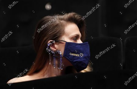 Jury member actress Celine Sallette wears a face mask as she attends the opening ceremony of the Cannes 2020 Special, in Cannes, France, 27 October 2020. The 73rd edition of the Cannes Film Festival which was to be held in May 2020 was canceled due to the Covid-19 pandemic. The Cannes 2020 Special runs from 27 to 29 October.