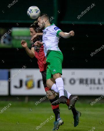 Cabinteely vs Drogheda United. Cabinteely's Paul Fox with James Brown of Drogheda United