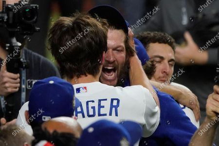 Los Angeles Dodgers pitcher Clayton Kershaw celebrates they defeat the Tampa Bay Rays 3-1 to win the baseball World Series in Game 6, in Arlington, Texas