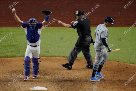 Los Angeles Dodgers catcher Austin Barnes celebrates the final out by Tampa Bay Rays' Willy Adames to win the baseball World Series in Game 6, in Arlington, Texas