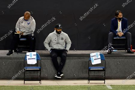 Montreal Impact head coach Thierry Henry directs his team against the Nashville SC during the second half of an MLS soccer match, in Harrison, N.J. Nashville SC defeated the Montreal Impact 1-0