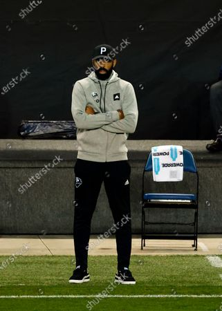 Montreal Impact head coach Thierry Henry directs his team against the Nashville SC during the first half of an MLS soccer match, in Harrison, N.J