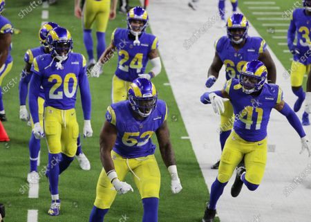 Los Angeles Rams linebacker Terrell Lewis (52) reacts with teammates after stopping the Chicago Bears on a 4th and 1 play in the second half at So-Fi Stadium on October 26, 2020 in Inglewood, California. (Gina Ferazzi / Los Angeles Times)
