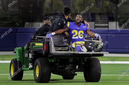 Los Angeles Rams safety Terrell Burgess (26) leaves the game with a leg injury against the Chicago Bears in the second half at So-Fi Stadium on October 26, 2020 in Inglewood, California. (Gina Ferazzi / Los Angeles Times)