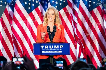 Stock Picture of Kellyanne Conway, former Counsellor to the President, speaks at a rally for Donald Trump for president at The Barn at Stoneybrooke.