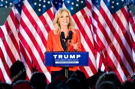 Stock Photo of Kellyanne Conway, former Counsellor to the President, speaks at a rally for Donald Trump for president at The Barn at Stoneybrooke.