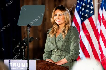 Stock Image of First Lady Melania Trump speaks at a rally for Donald Trump for president at The Barn at Stoneybrooke.