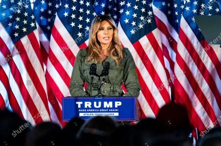 First Lady Melania Trump speaks at a rally for Donald Trump for president at The Barn at Stoneybrooke.
