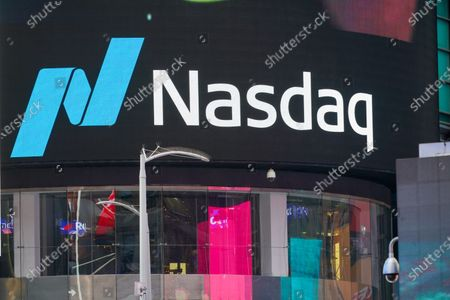 An american stock exchange, NASDAQ logo in Times Square.
