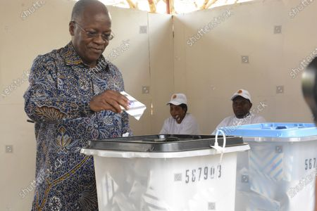 The ruling party CCM presidential candidate Dr. John Magufuli casts his vote at Chamwino in Dodoma . The populist Magufuli, who made his name in part by targeting corruption, now seeks a second five-year term in one of Africa's most populous and fastest-growing economies