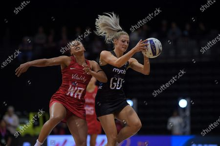 England's Serena Guthrie pressures NZ's Jane Watson during the Cadbury Netball Series Taini Jamison Trophy match between New Zealand Silver Ferns and England Roses at Claudelands Arena in Hamilton, New Zealand on Wednesday, 28 October 2020.