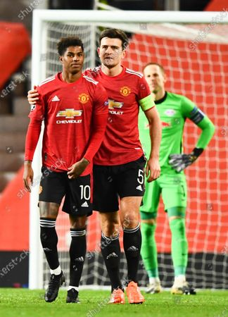 Marcus Rashford of Manchester United after scoring the third goal with Harry Maguire