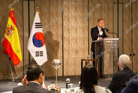 Former UN Secretary General Ban Ki-moon speaks during the presentation of a book to celebrate 70 years of diplomatic relations between South Korea and Spain at a hotel in Seoul, South Korea, 28 October 2020. Spain and Korea signed their bilateral ties on 17 March 1950.