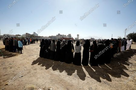 Yemenis attend a rally a day after a senior Houthi official was killed by gunmen in Sanaa, Yemen, 28 October 2020. According to reports, the youth and sports minister of the Houthi administration Hassan Zaid was killed in an attack by gunmen as he was heading to his office in the capital Sanaa.