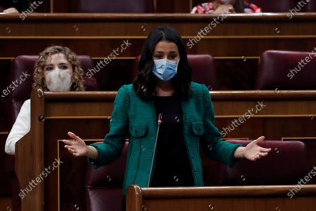 Leader of Spanish Ciudadanos party Ines Arrimadas intervenes during the weekly Spanish Government question time session at Congress of Deputies, in Madrid, 28 October 2020. The session was held a day before the Government explains at the Lower Chamber its request of extension of the declaration of the state of emergency for six months.