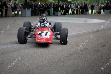 The James Hunt Fondation F3 Lotus 59 goes flat out to the ground of the Hurlington Club during the 2019 Grand Prix Ball.