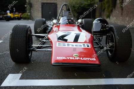 Stock Photo of The James Hunt Fondation F3 Lotus 59 is displayed during the 2019 Grand Prix Ball at The Hurlingham Club.