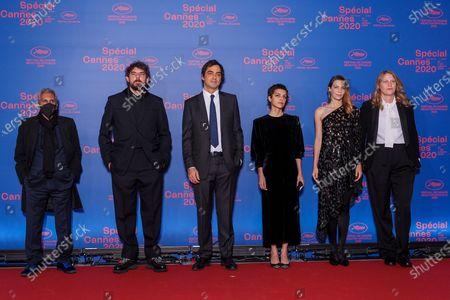 (L-R) Short Film Jury members Rachid Bouchareb, Damien Bonnard, Charles Gillibert, Dea Kulumbegashvili, Celine Sallette and Claire Burger