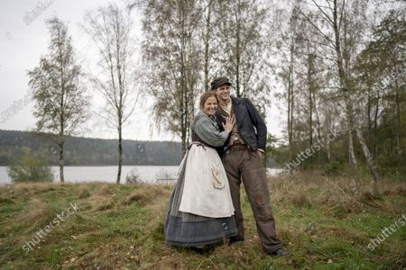 Gustaf Skarsgard during the filming of the movie, based on Swedish author Vilhelm Moberg's book. Lisa Carlehed plays wife Kristina and Gustaf Skarsgard as the husband Karl-Oskar.