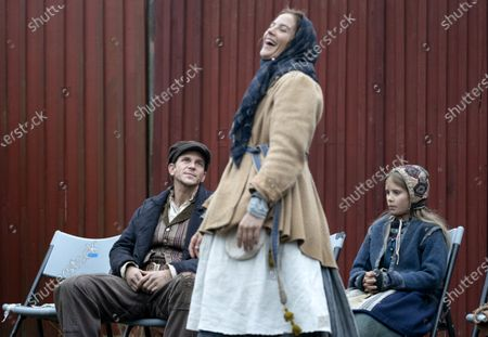 Gustaf Skarsgard during the filming of the movie, based on Swedish author Vilhelm Moberg's book. Gustaf Sakrsgard with Lisa Carlehed (middle) and Kerstin Lindén.