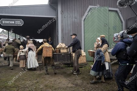 Gustaf Skarsgard as Karl-Oskar during the filming of the movie, based on Swedish author Vilhelm Moberg's book