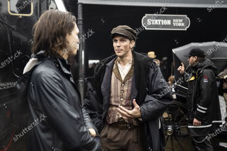 Film producer Fredrik Wikstrom Nicastro and Gustaf Skarsgard as Karl-Oskar during the filming of the movie, based on Swedish author Vilhelm Moberg's book