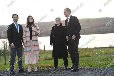 Prince Carl Philip and Princess Sofia with County Governor Georg Andrén and his wife Deacon Maria Andrén at Kulinarika at Aplungen, a restaurant and vineyard south of Sunne, Sweden. The Prince Couple are spending the day in Varmland County to see how it has been affected by Covid-19.