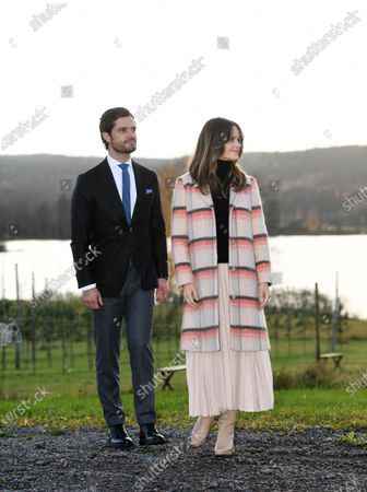 Stock Picture of Prince Carl Philip and Princess Sofia visiting Kulinarika at Aplungen, a restaurant and vineyard south of Sunne, Sweden. The Prince Couple are spending the day in Varmland County to see how it has been affected by Covid-19.